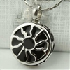 Small Black and Silver Sun Cremation Pendant (Chain Sold Separately)
