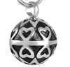 Hearts On Round Ball Cremation Pendant (Chain Sold Separately)