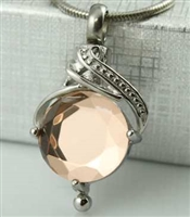 Cremation Pendant With Peach Stone (Chain Sold Separately)