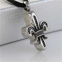 Black and Silver Fleur De Lis Cremation Pendant (Chain Sold Separately)