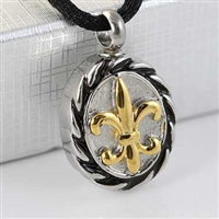 Gold, Black and Silver Fleur De Lis Cremation Pendant (Chain Sold Separately)