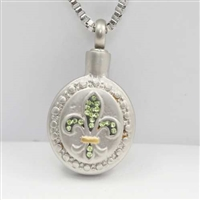 Green Fleur De Lis Cremation Pendant (Chain Sold Separately)