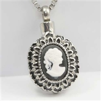 Woman Black and White Cameo Cremation Pendant (Chain Sold Separately)