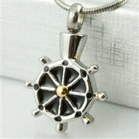 Ship's Wheel Cremation Pendant (Chain Sold Separately)