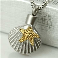 Starfish On Shell - Beach Cremation Pendant (Chain Sold Separately)