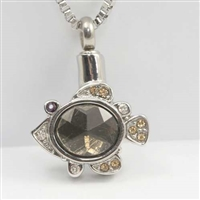 Fish With Brown Stone Cremation Pendant (Chain Sold Separately)