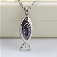 Fish With Purple Stone Cremation Pendant (Chain Sold Separately)