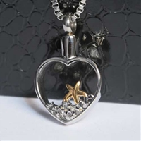 Open Heart With Starfish on Beach Cremation Pendant (Chain Sold Separately)