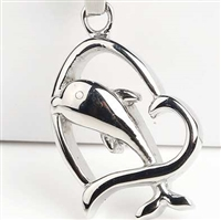 Dolphin Jumping Through Heart Cremation Pendant (Chain Sold Separately)