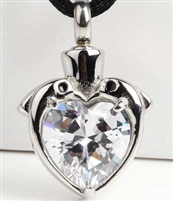Dolphins Wrapped Around Heart CZ Cremation Pendant (Chain Sold Separately)