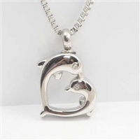 Dolphin Heart Cremation Pendant (Chain Sold Separately)
