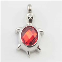 Turtle With Red Stone On Back Cremation Pendant (Chain Sold Separately)