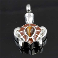 Brown Turtle With Stone On Back Cremation Pendant (Chain Sold Separately)
