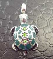 Turtle With Green Stones On Back Cremation Pendant (Chain Sold Separately)