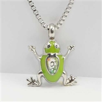 Green Frog With Unique Murano Bead On Back Cremation Pendant (Chain Sold Separately)