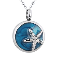 Starfish On Blue Circle Cremation Pendant (Chain Sold Separately)