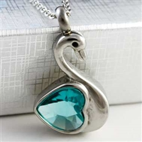 Swan With Blue Heart Cremation Pendant (Chain Sold Separately)