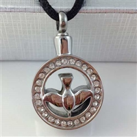 Dove In Circle Cremation Pendant (Chain Sold Separately)