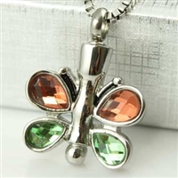 Orange and Green Butterfly Cremation Pendant (Chain Sold Separately)