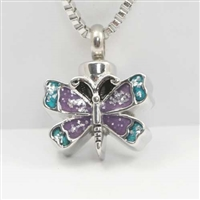 Small Butterfly With Purple and Blue Wings Cremation Pendant (Chain Sold Separately)