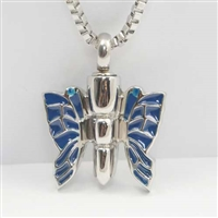 Blue Monarch Butterfly Cremation Pendant (Chain Sold Separately)