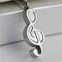 Large Stainless Steel Music Clef Cremation Pendant (Chain Sold Separately)