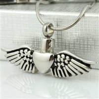 Large Heart With Angel Wings Cremation Jewelry Pendant (Chain Sold Separately)