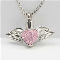 Sparkly Pink Heart With Wings Cremation Jewelry Pendant (Chain Sold Separately)