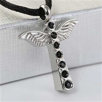 Angel Wings With Black Stones Cremation Pendant (Chain Sold Separately)