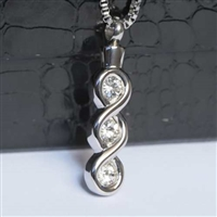 Infinity Loop With 3 CZ's Cremation Pendant (Chain Sold Separately)
