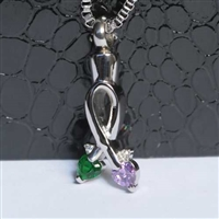 Ribbon With Green and Purple Hearts Cremation Pendant (Chain Sold Separately)