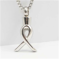 Simple Stainless Steel Ribbon Cremation Pendant (Chain Sold Separately)