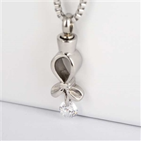 Ribbon With Dangle Stone Cremation Pendant (Chain Sold Separately)
