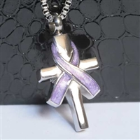 Purple Ribbon Wrapped Around Cross Cremation Pendant (Chain Sold Separately)