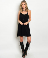 124-3-3-D511061 BLACK RIBBED DRESS 2-2-2