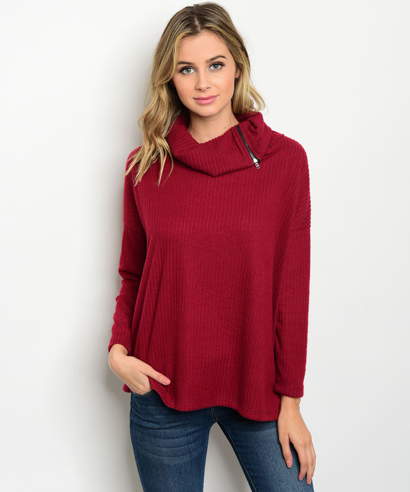 C50-A-7-T69271 BURGUNDY RIBBED SWEATER 2-2-2