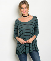 C19-B-3-T9180ME FOREST GREEN BLACK STRIPED SLUB KNIT TOP 2-2-2
