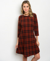 C20-A-1-D2159J40 RUST BLACK PLAID DRESS 1-2-1