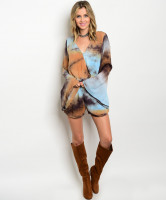 108-5-4-RLP80508 LIGHT BLUE TAUPE TIE DYE ROMPER 1-2-2