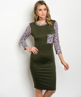 C17-A-1-D2921R910 OLIVE WITH FLOWERS DRESS 1-1-2