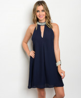 117-1-5-D41352 NAVY MOCK NECK DRESS 1-2-2