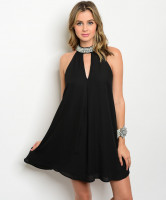 117-1-5-D41352 BLACK MOCK NECK DRESS 1-2-2
