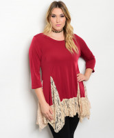 C38-A-1-D940X BURGANDY CREAM PLUS SIZE DRESS 1-2-1