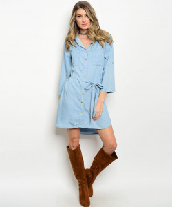 128-3-2-NA-D12034 LIGHT BLUE DENIM DRESS 1-2-1