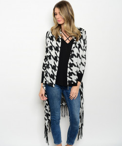 122-2-5-CNJ35235 BLACK OFF WHITE CARDIGAN 2-2-2