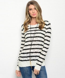 124-1-4-SNT15781 CREAM BLACK STRIPE SWEATER 1-2-1