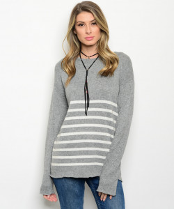 111-5-4-SAT01662 GRAY IVORY SWEATER 2-2-2