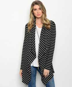 110-3-1-CT447 BLACK WHITE CARDIGAN 1-2-2-1