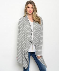 136-2-2-CT447 GRAY WHITE CARDIGAN 1-2-1