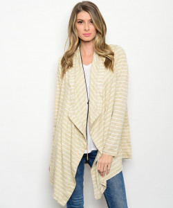 110-3-1-CT447 KHAKI WHITE CARDIGAN 1-2-2-1
